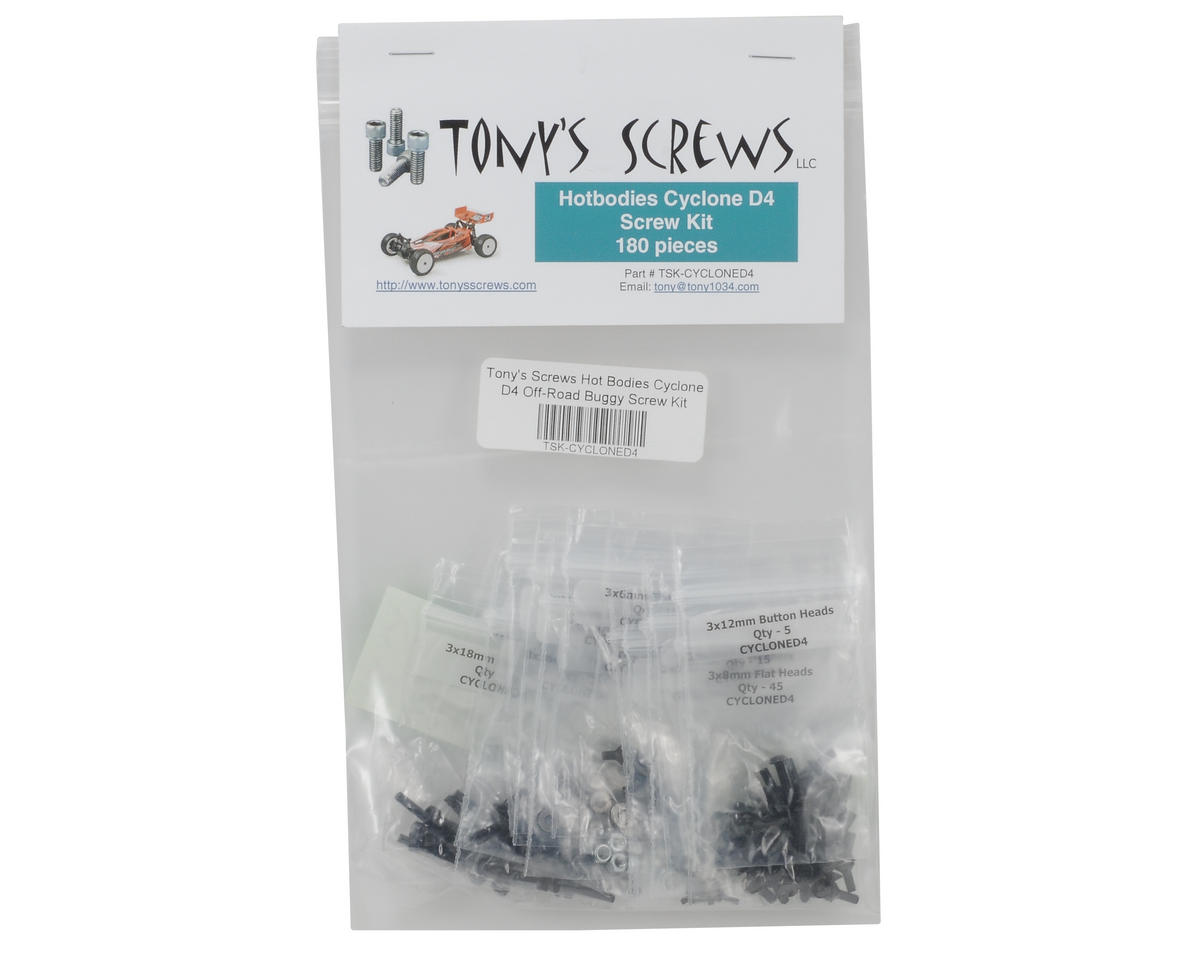 Tonys Screws Hot Bodies Cyclone D4 Off-Road Buggy Screw Kit