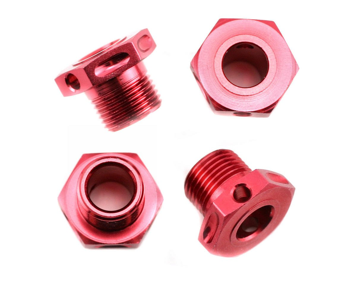 Thunder Tiger Red Lightened Hex Wheel Adapters (4), S3