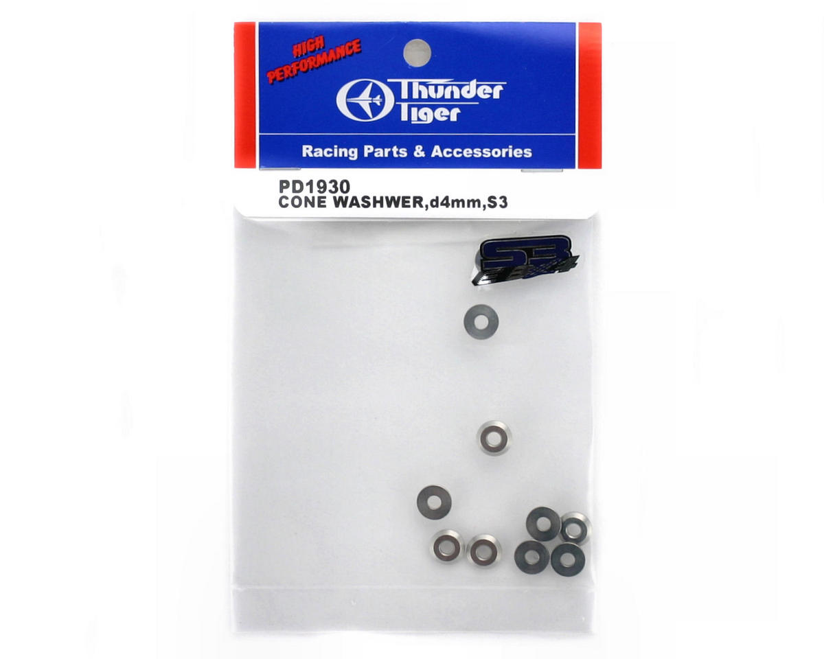 Thunder Tiger 4mm Cone Washers (8), S3