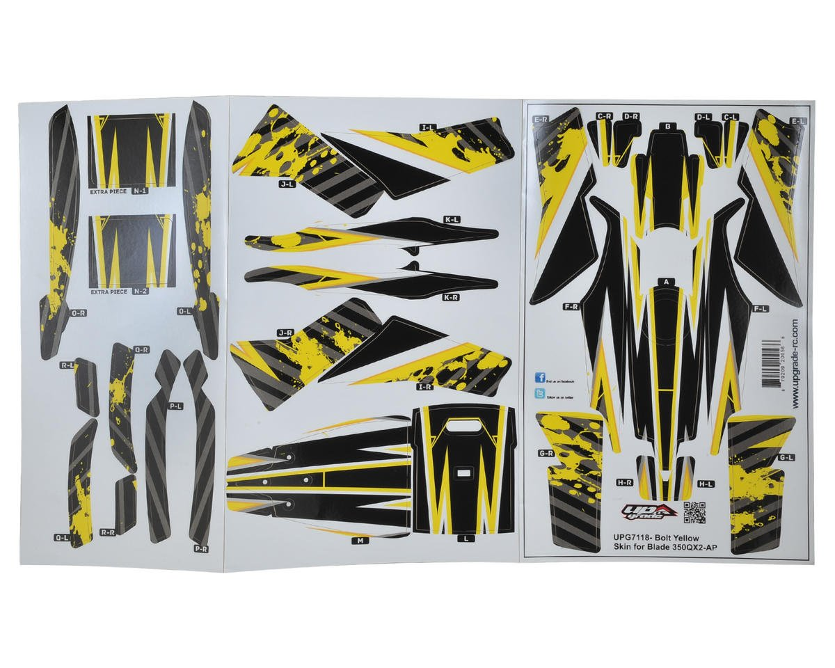 "Upgrade R/C Blade 350 QX2 AP ""Bolt"" Hyper Skin (Yellow)"