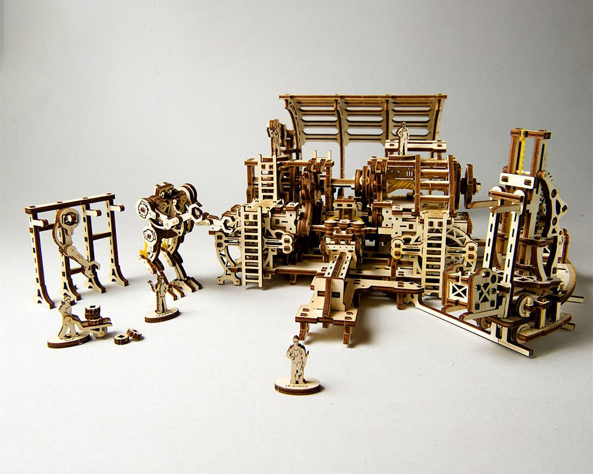 UGears Mechanical Town Robot Factory Wooden 3D Model