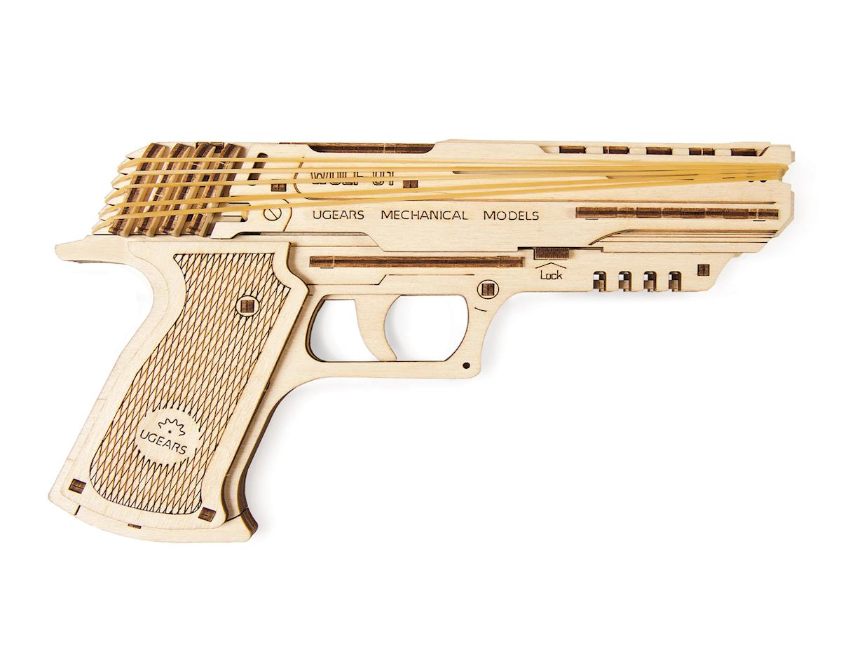 UGears Wolf-01 Handgun Rubber Band Firing Wooden 3D Model