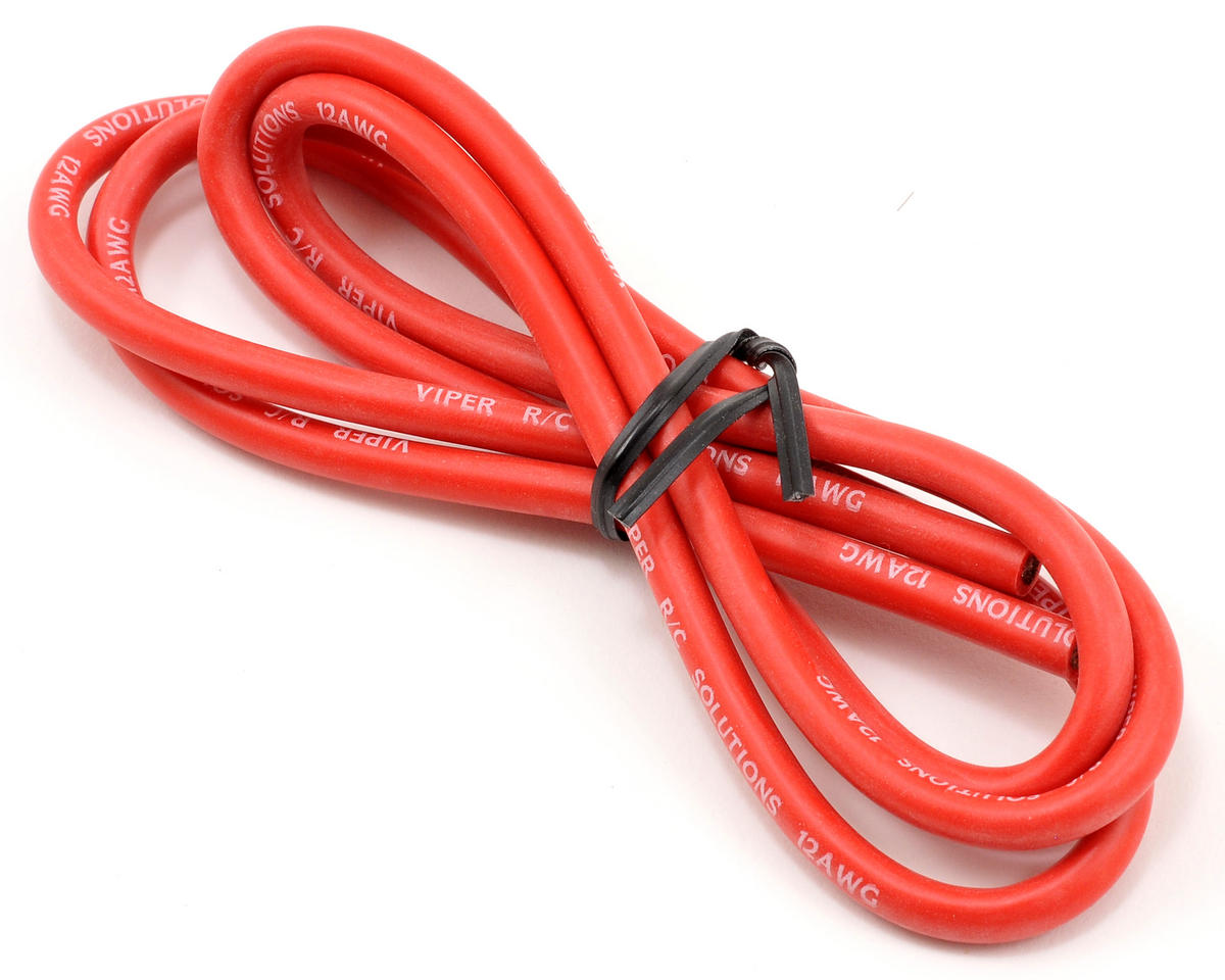 Viper R/C 12awg Silicone Power Wire (Red) (3')