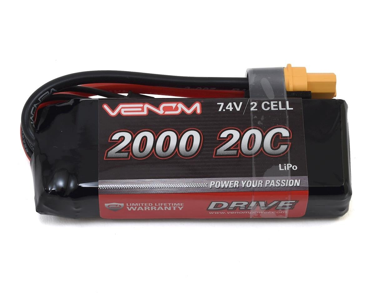 Venom Power 2S LiPo 20C Mini Battery Pack w/UNI 2.0 Connector (7.4V/2000mAh)