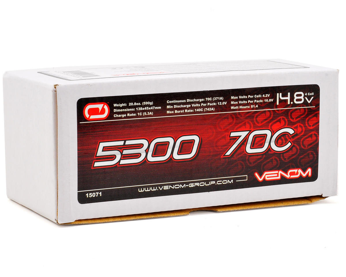 4S Hard Case 70C LiPo Battery w/Universal Connector (14.8V/5300mAh) by Venom Power