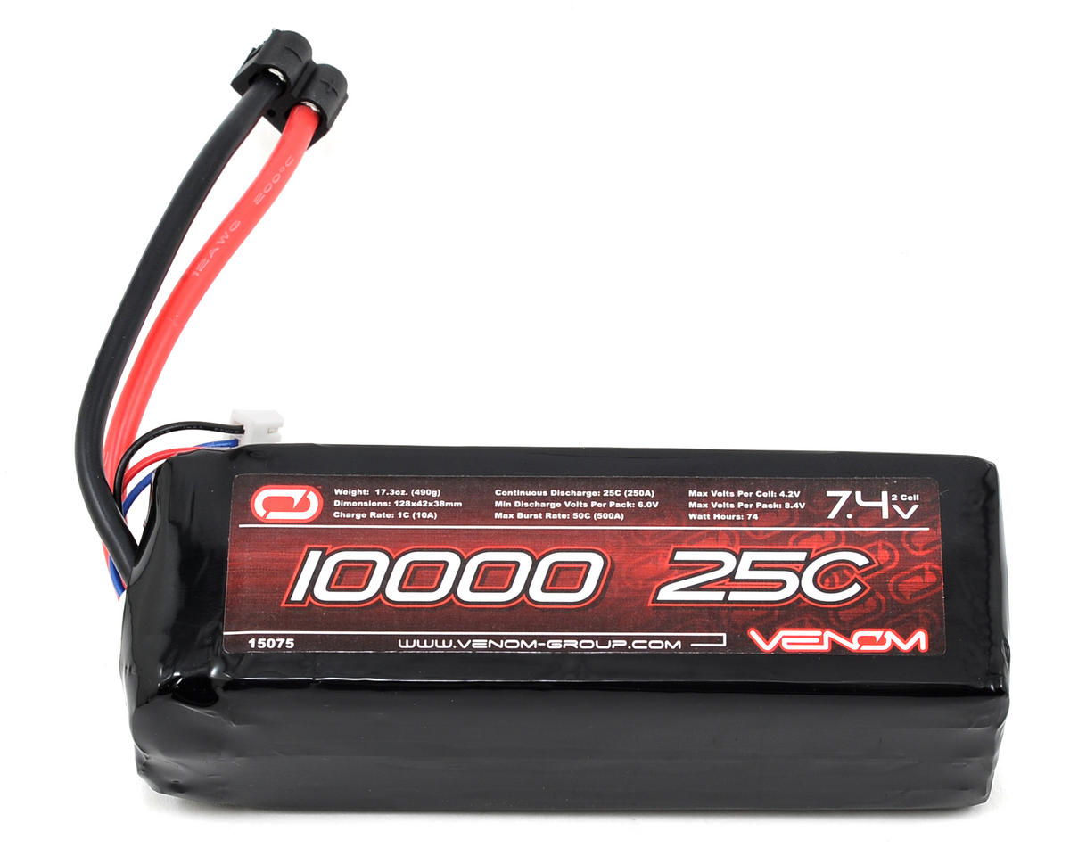 Venom Power 2S LiPo 25C Battery Pack w/Universal Connector (7.4V/10,000mAh)
