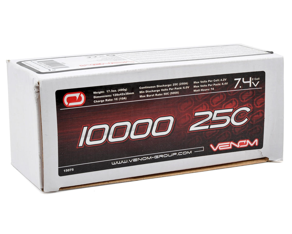 2S LiPo 25C Battery Pack w/Universal Connector (7.4V/10,000mAh) by Venom Power