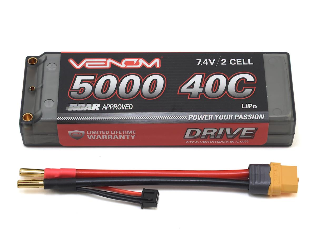 Venom Power 2S 40C Hard Case LiPo Battery w/Universal Connector (7.4V/5000mAh)