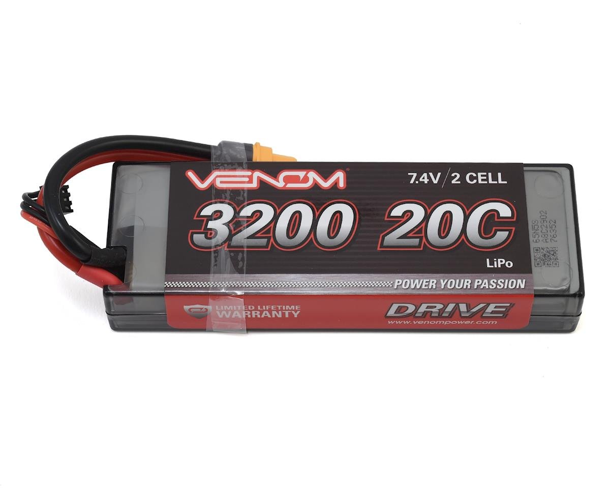 Power 2S LiPo 20C Car Battery Pack w/Universal Connector(7.4V/3200mAh) by Venom