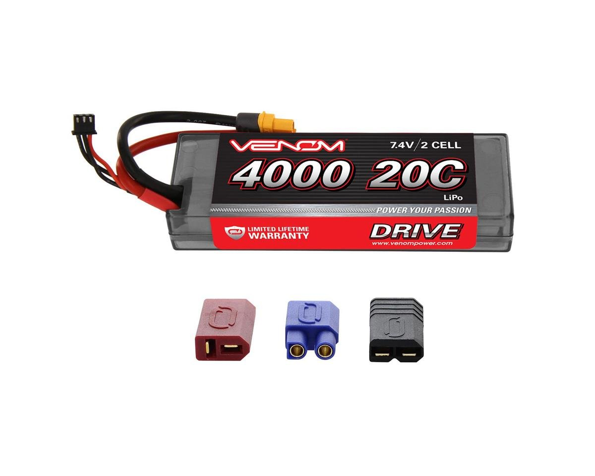 2S LiPo 20C Car Battery Pack w/Universal Connector (7.4V/4000mAh)