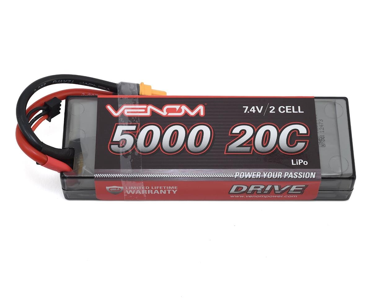 2S LiPo 20C Battery Pack w/Universal Connector (7.4V/5000mAh) by Venom Power
