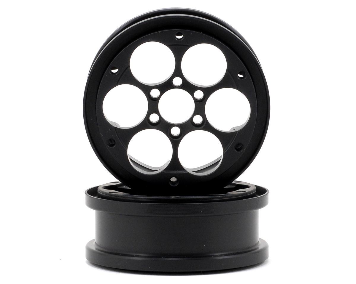 "Vanquish Products SLW V4 2.2"" Aluminum Beadlock Rock Crawler Wheels (2) (Black) (1"" Wide)"