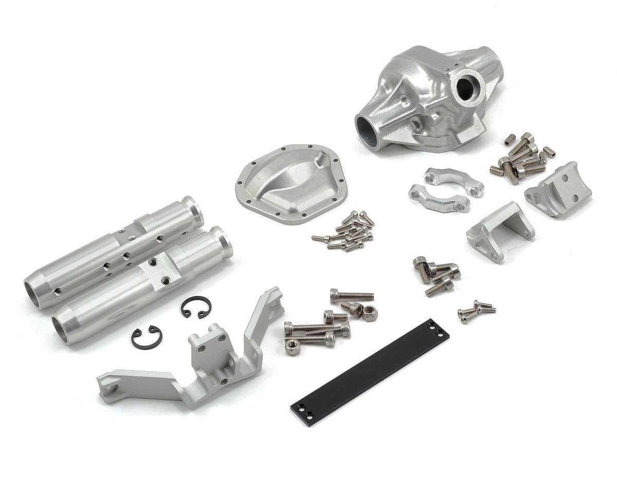 "Vanquish Products ""Currie Rockjock"" SCX10 Rear Axle Assembly (Silver) (Vaterra Twin Hammers)"
