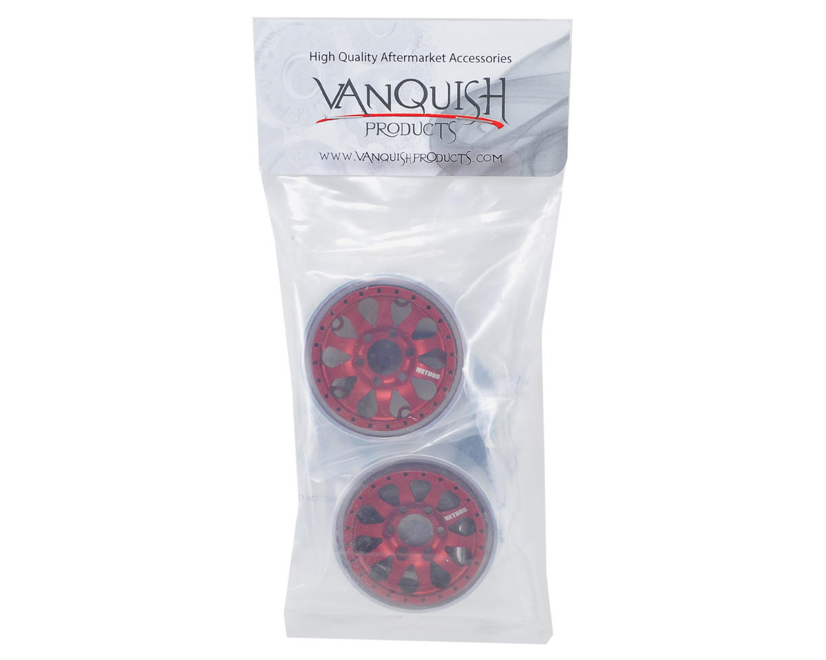 Vanquish Products Method 101 1.9 Aluminum Beadlock Crawler Wheel (2-Red/Black)