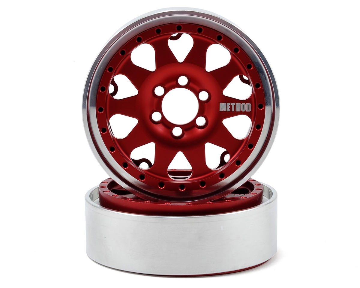 Method 101 2.2 Aluminum Beadlock Crawler Wheel (2-Red/Black) by Vanquish Products