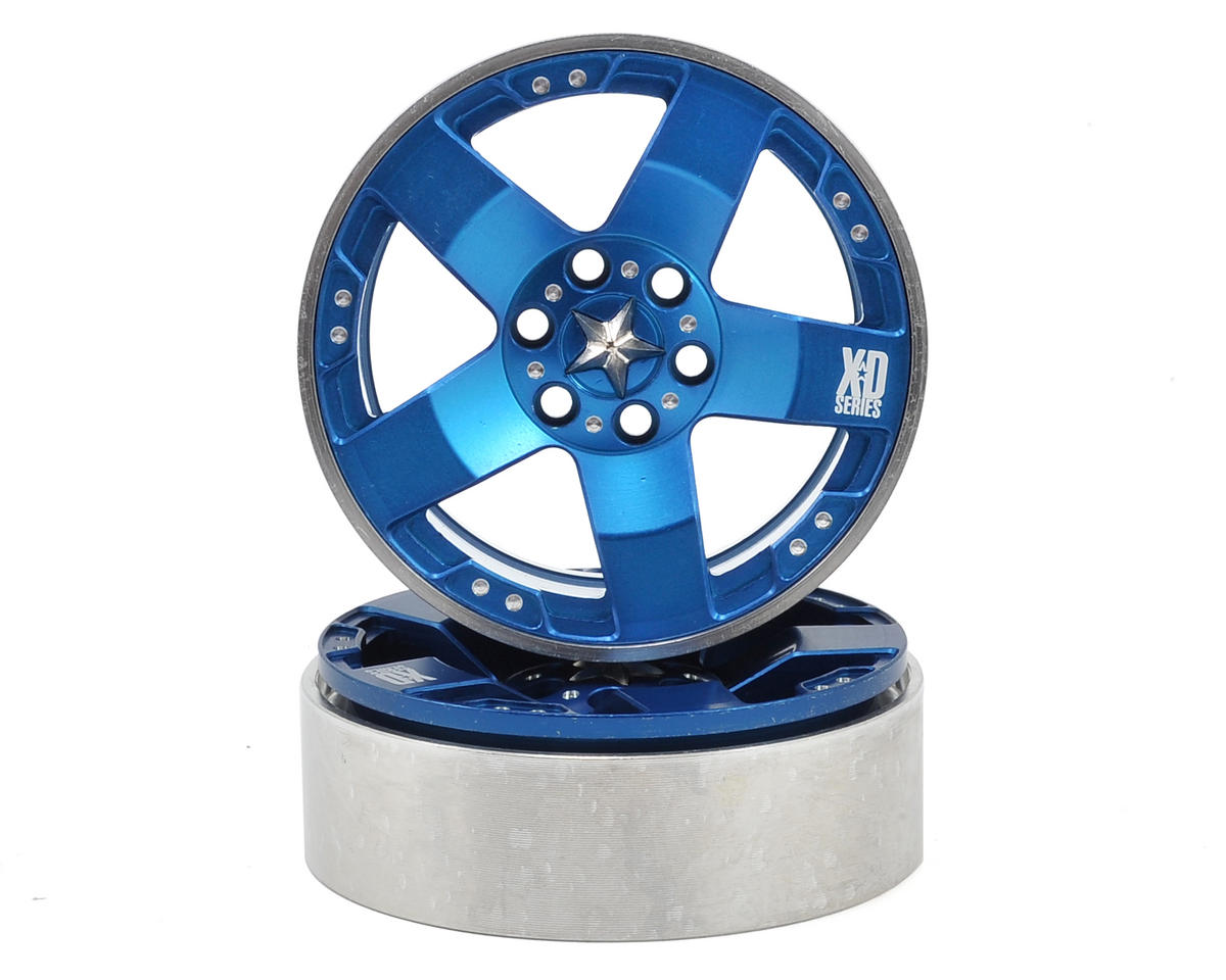 "KMC Rockstars 2.2"" Beadlock Wheels (2) (Blue) by Vanquish Products"