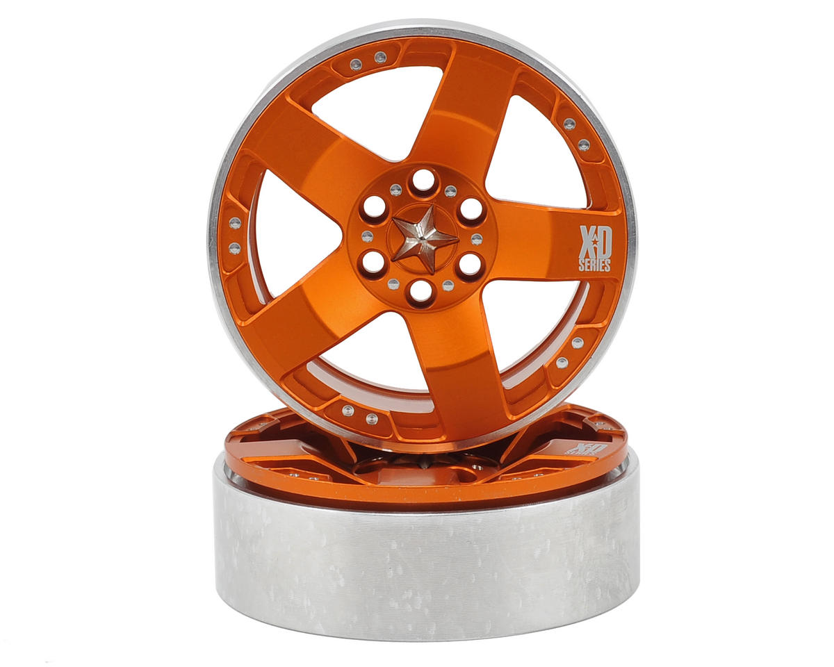 "Vanquish Products KMC Rockstars 2.2"" Beadlock Wheels (2) (Orange)"