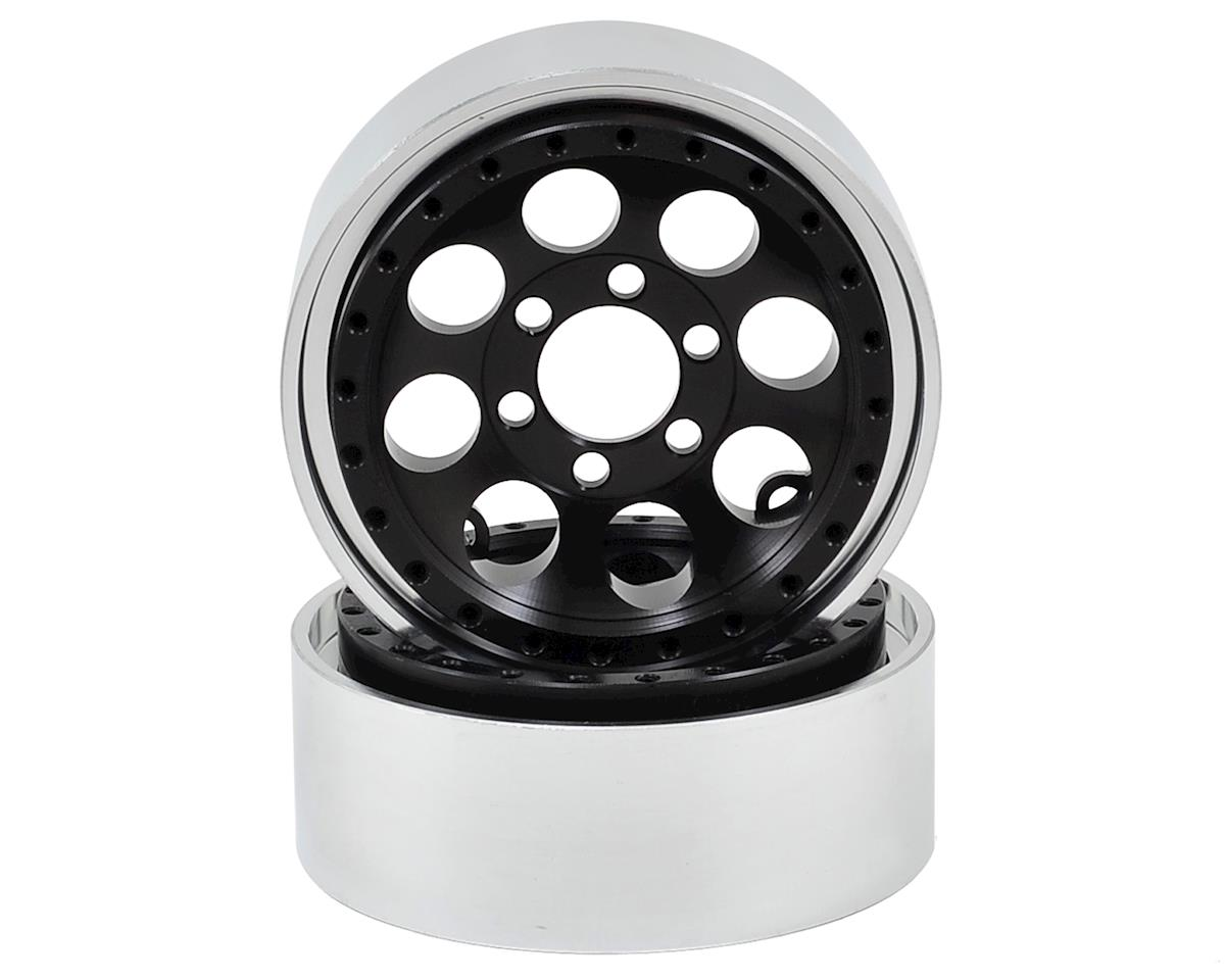 Vanquish Products 8-Hole 1.9 Aluminum Beadlock Crawler Wheel 2-Black/Silver