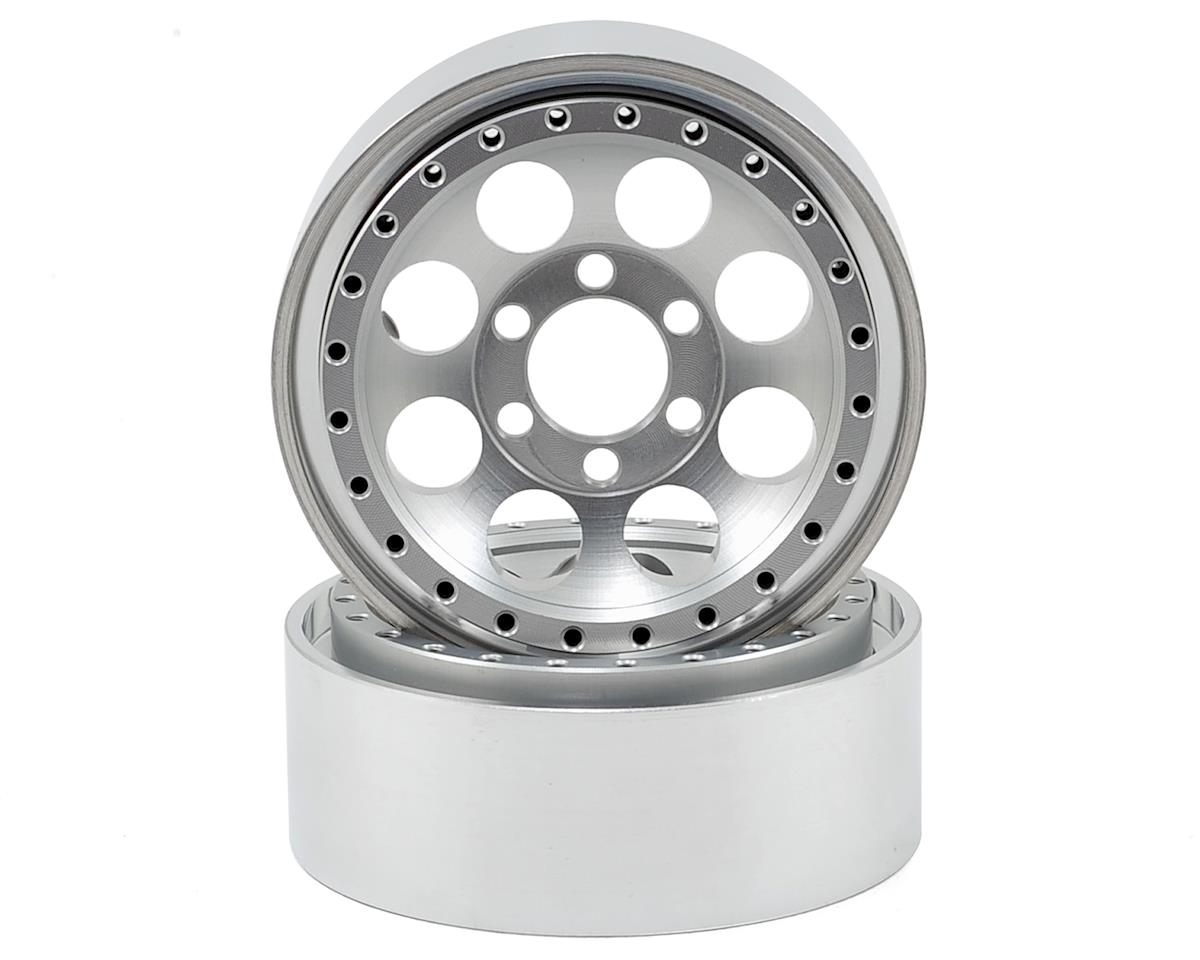 Vanquish Products 8-Hole 1.9 Aluminum Beadlock Crawler Wheel 2-Silver/Black