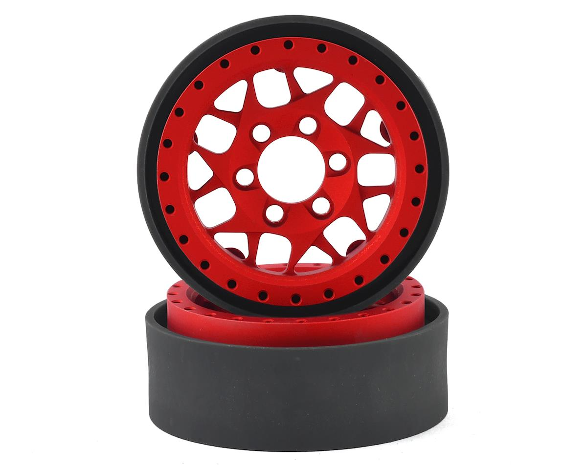 Vanquish Products KMC XD127 Bully 1.9 Beadlock Wheels (2) (Red)