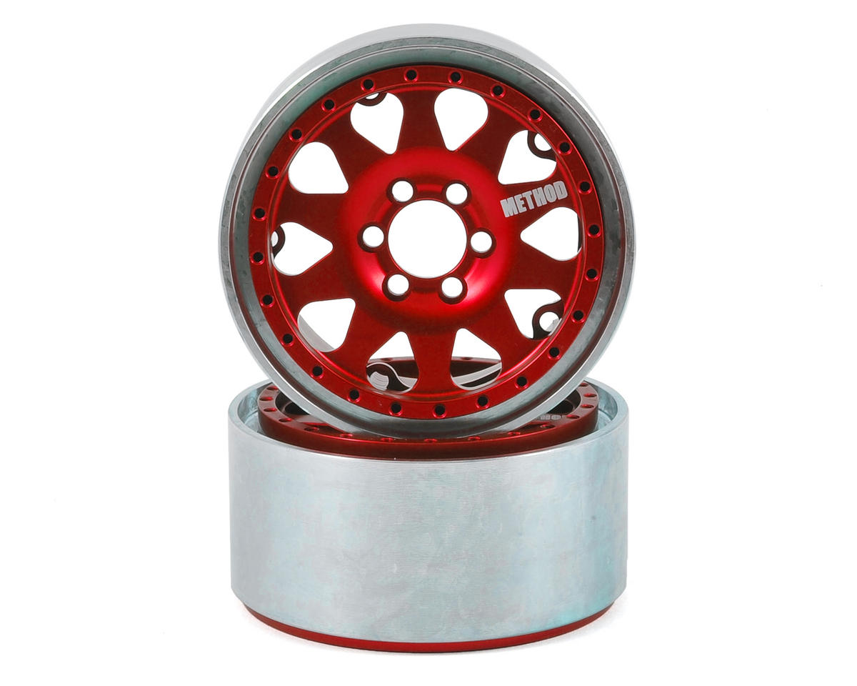 Method 101 2.2 Aluminum Beadlock Crawler Wheel (2-Red/Black)