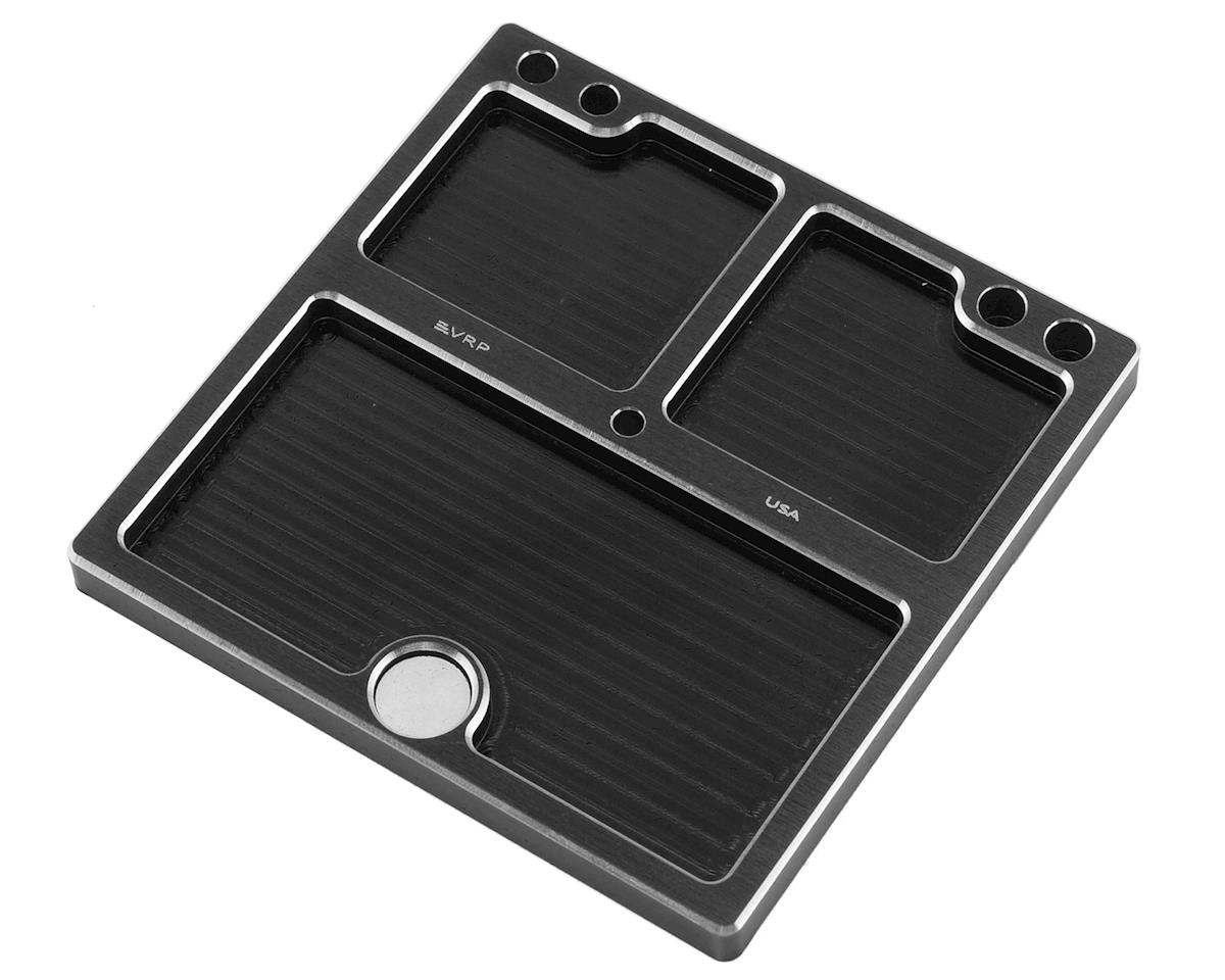 VRP 80x80mm Aluminum Small Parts Tray w/Storage Pouch (Black)