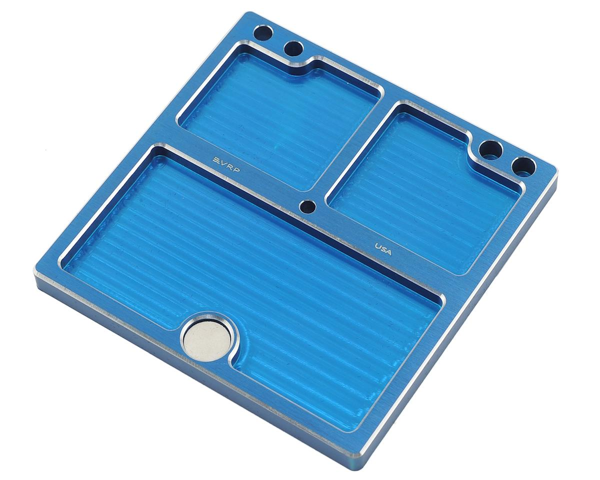 VRP 80mmx80mm Aluminum Small Parts Tray w/Storage Pouch (Blue)