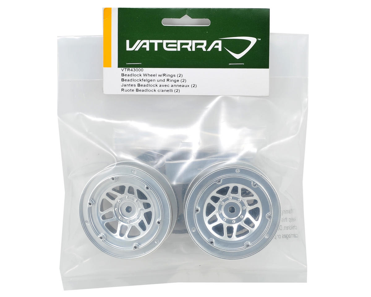 1.9 Beadlock Crawler Wheels w/Rings (2) (Twin Hammers) (Silver/Black) by Vaterra