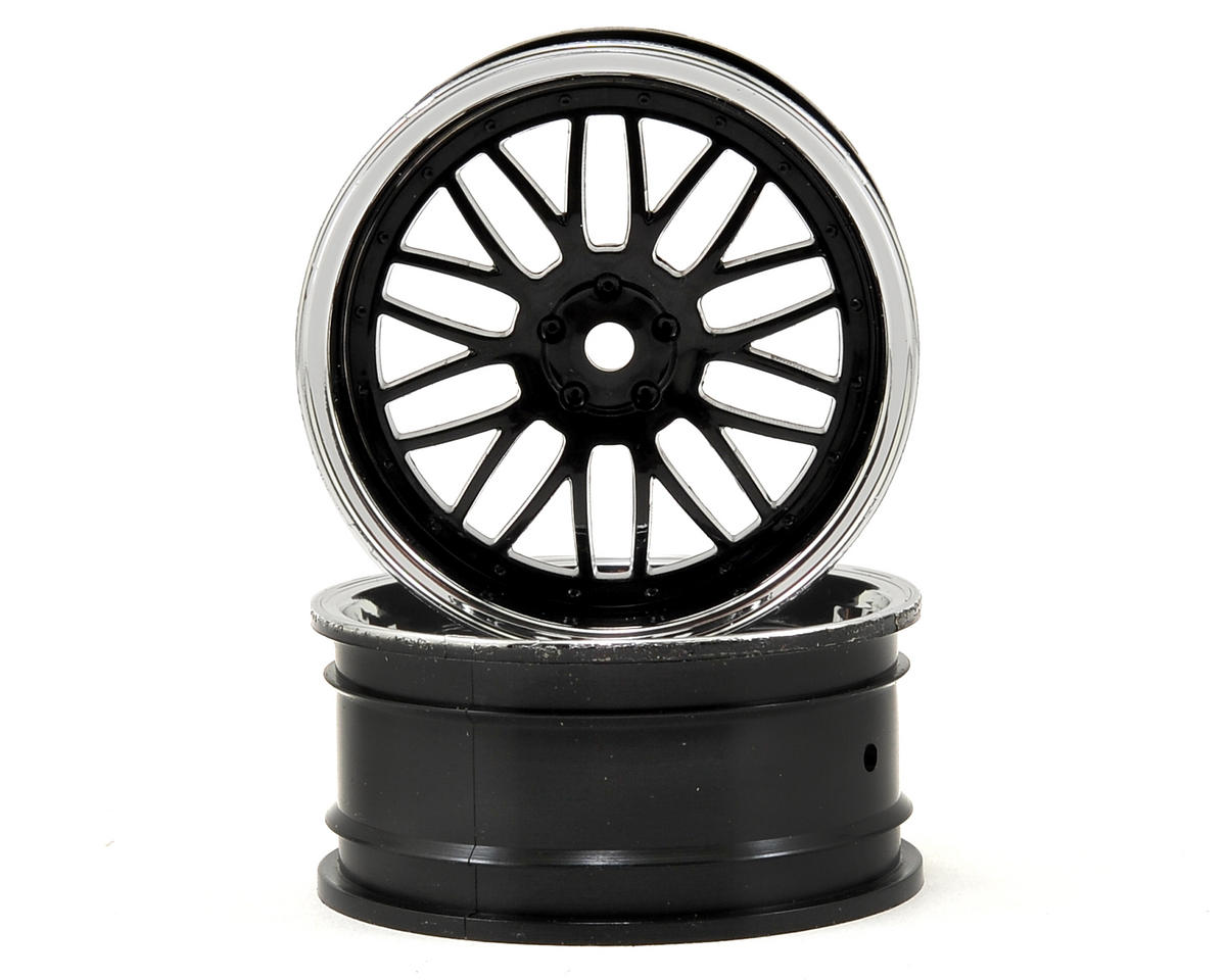 12mm Hex 54x26mm Front Deep Mesh Wheel (2) (Chrome/Black) by Vaterra