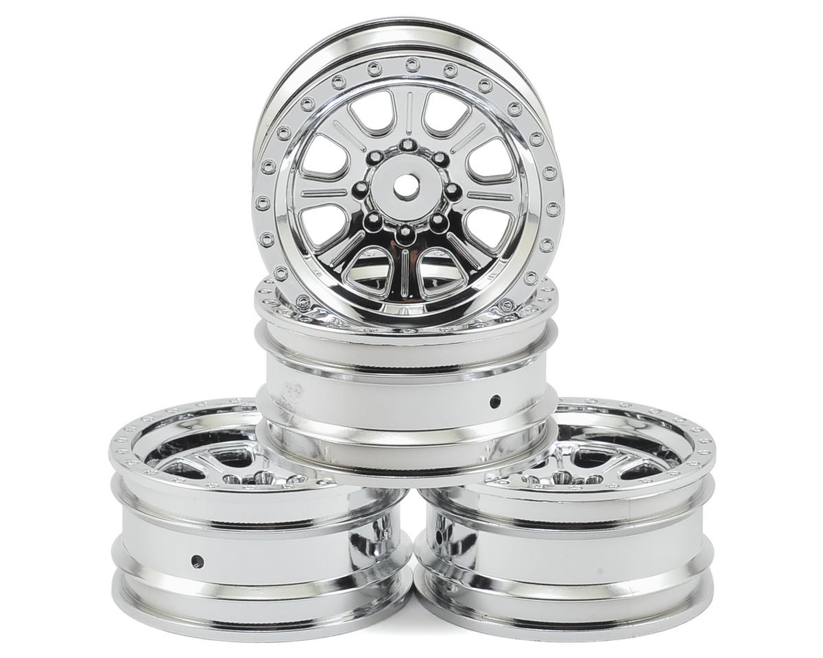 "Ascender 8 Spoke 1.9"" Rock Crawler Wheels (Chrome) (4) by Vaterra"