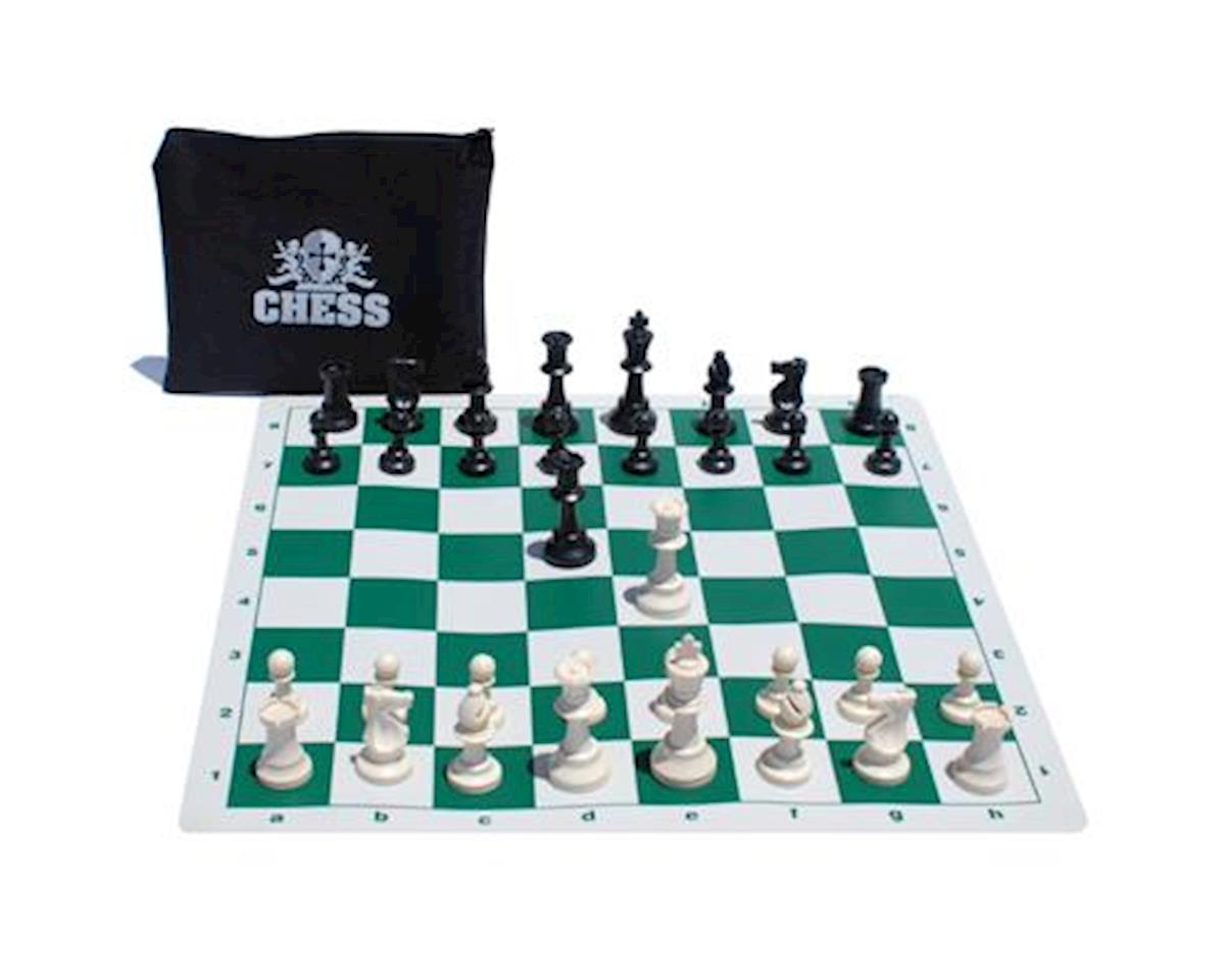 Wood Expressions WE Games 10-1054 Ultimate Compact Tournament Chess Set with Green Silicone Chess Board