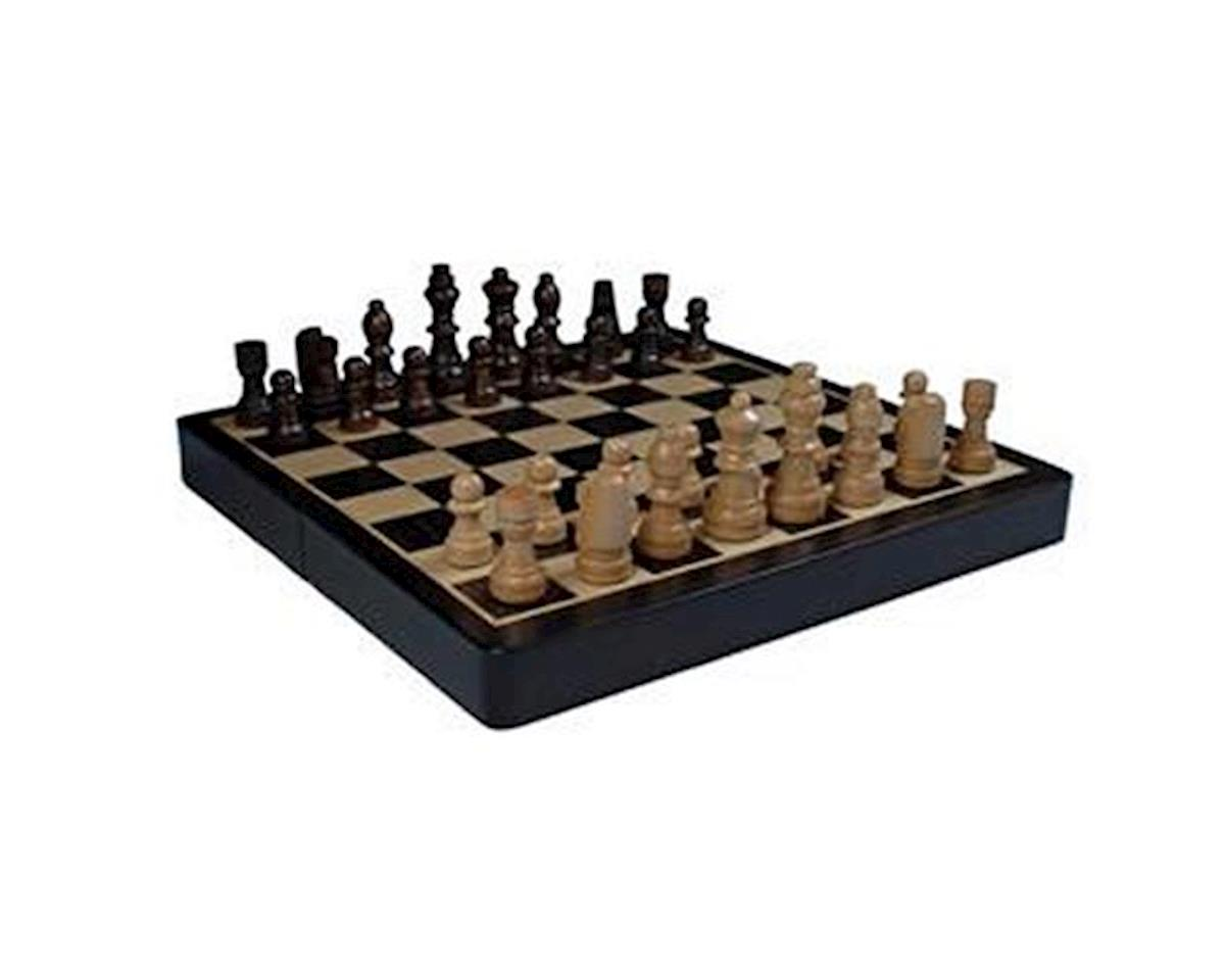 Black Stained Travel Wood Magnetic Chess Set by Wood Expressions