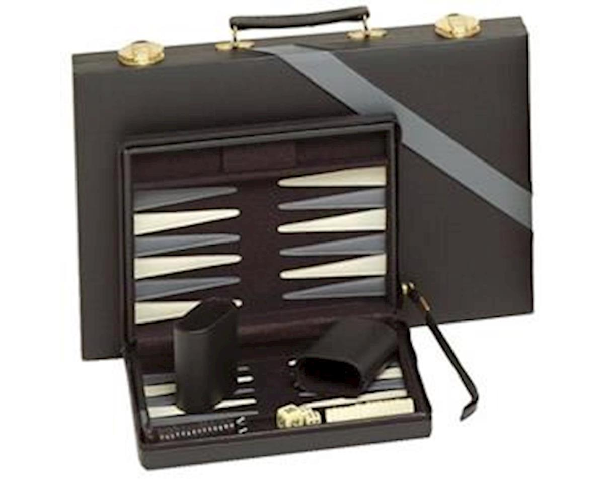Wood Expressions WE Games 20-3109 Compact Travel Magnetic Backgammon with Carrying Strap - Black with Grey Stripe