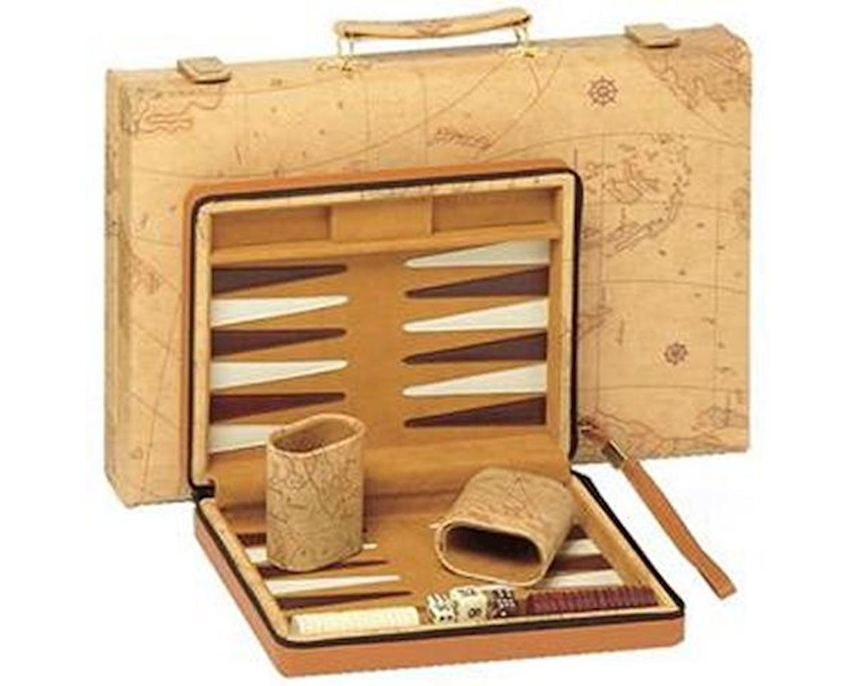 Tan Map Sytle Travel Backgammon by Wood Expressions