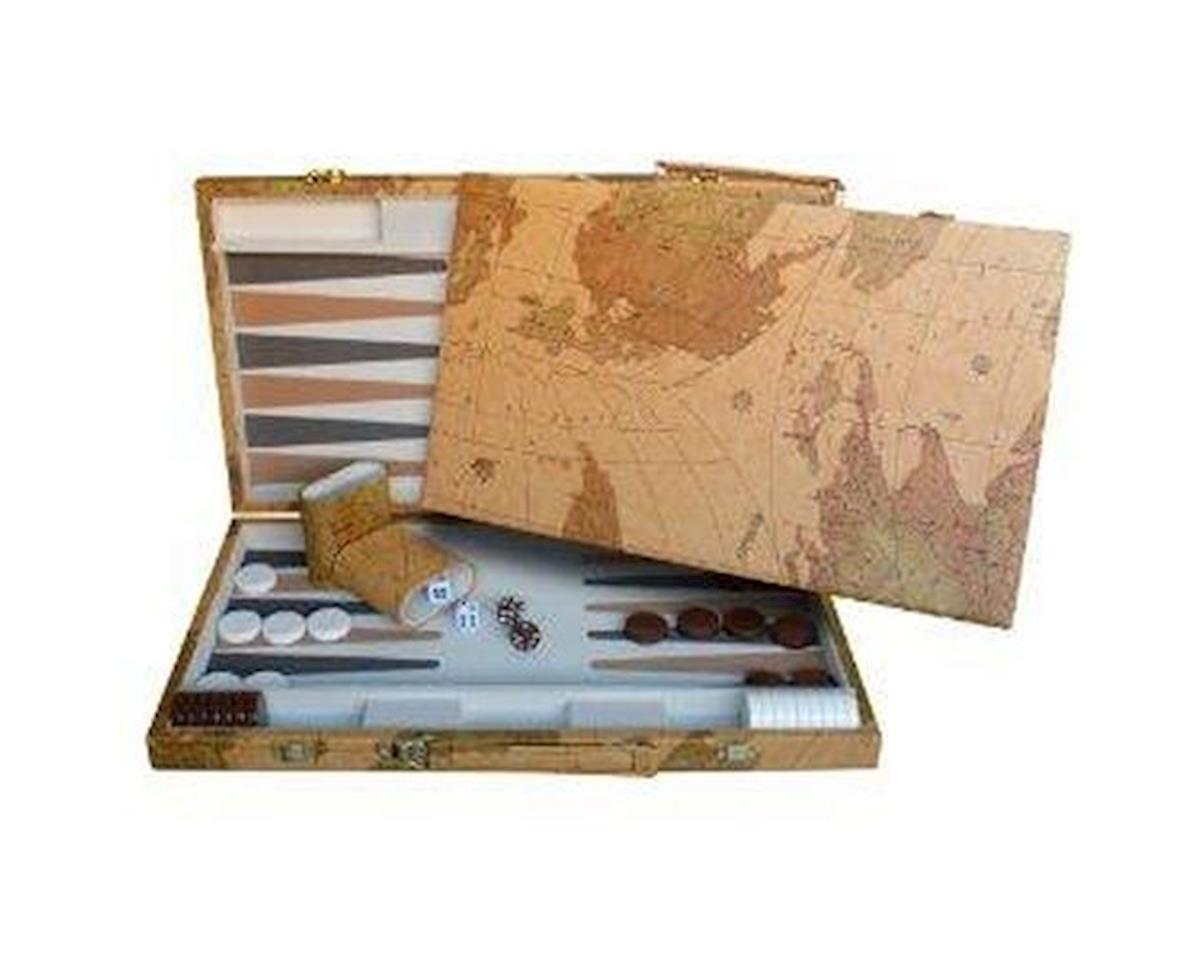 Wood Expressions 21-7318 Map Design Backgammon Set - 18 Inch with Screen Printed Points
