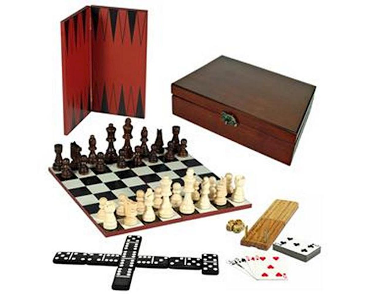 Wood Expressions 7-Games-in-1 Set - Chess, Checkers, Backgammon, Cribbage, Dominoes, Cards & Dice