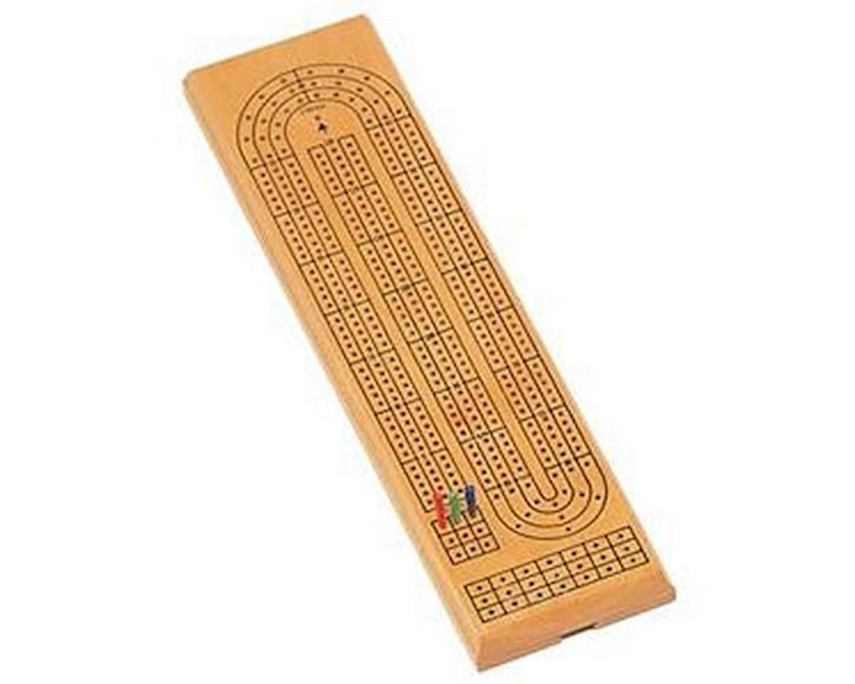 30-1003 Natural Solid Wood Continuous 3 Track Cribbage Board - 16 Inch