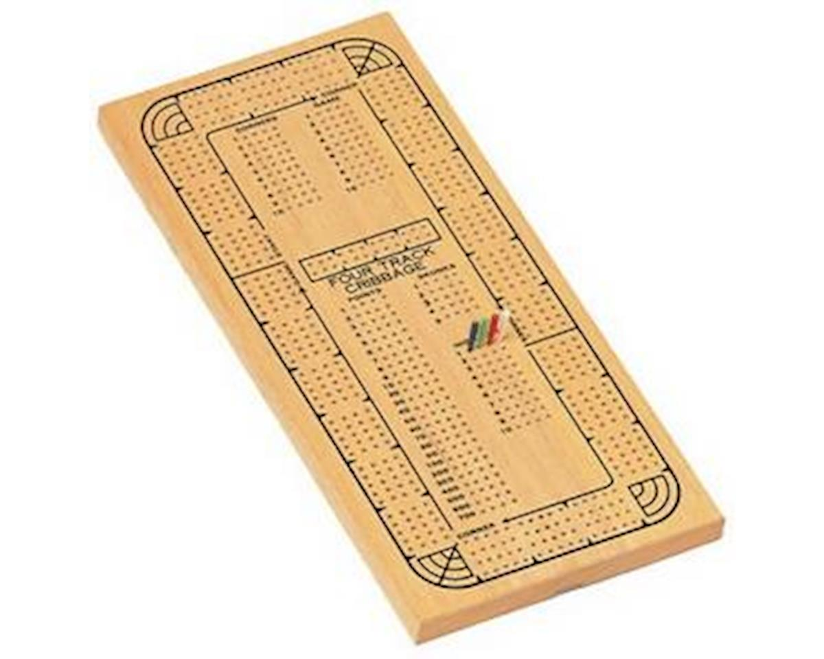 Wood Expressions  Cribbage 4-Track Natural Wood Board