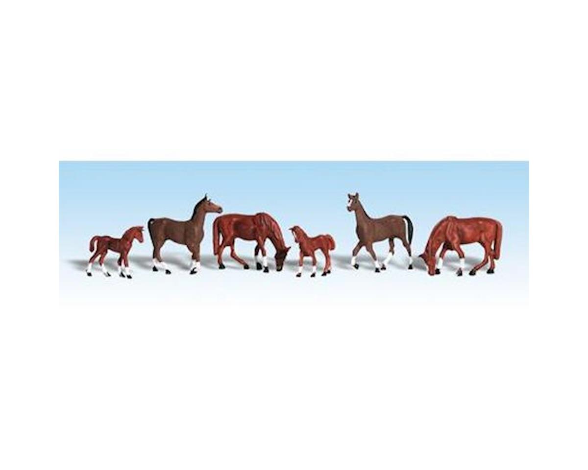 HO Chestnut Horses by Woodland Scenics