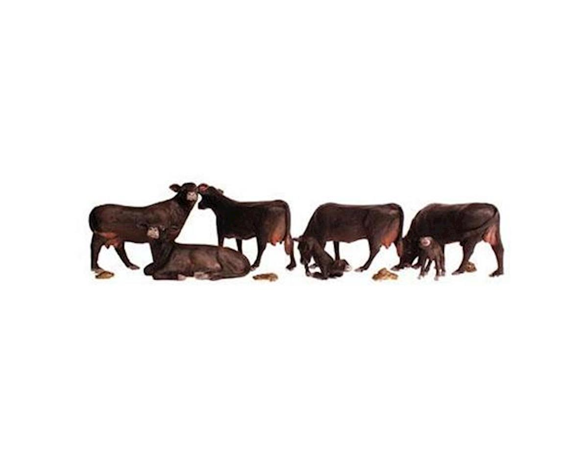 Woodland Scenics HO Scenic Accents Black Angus Cows (5 & 2 Calves)