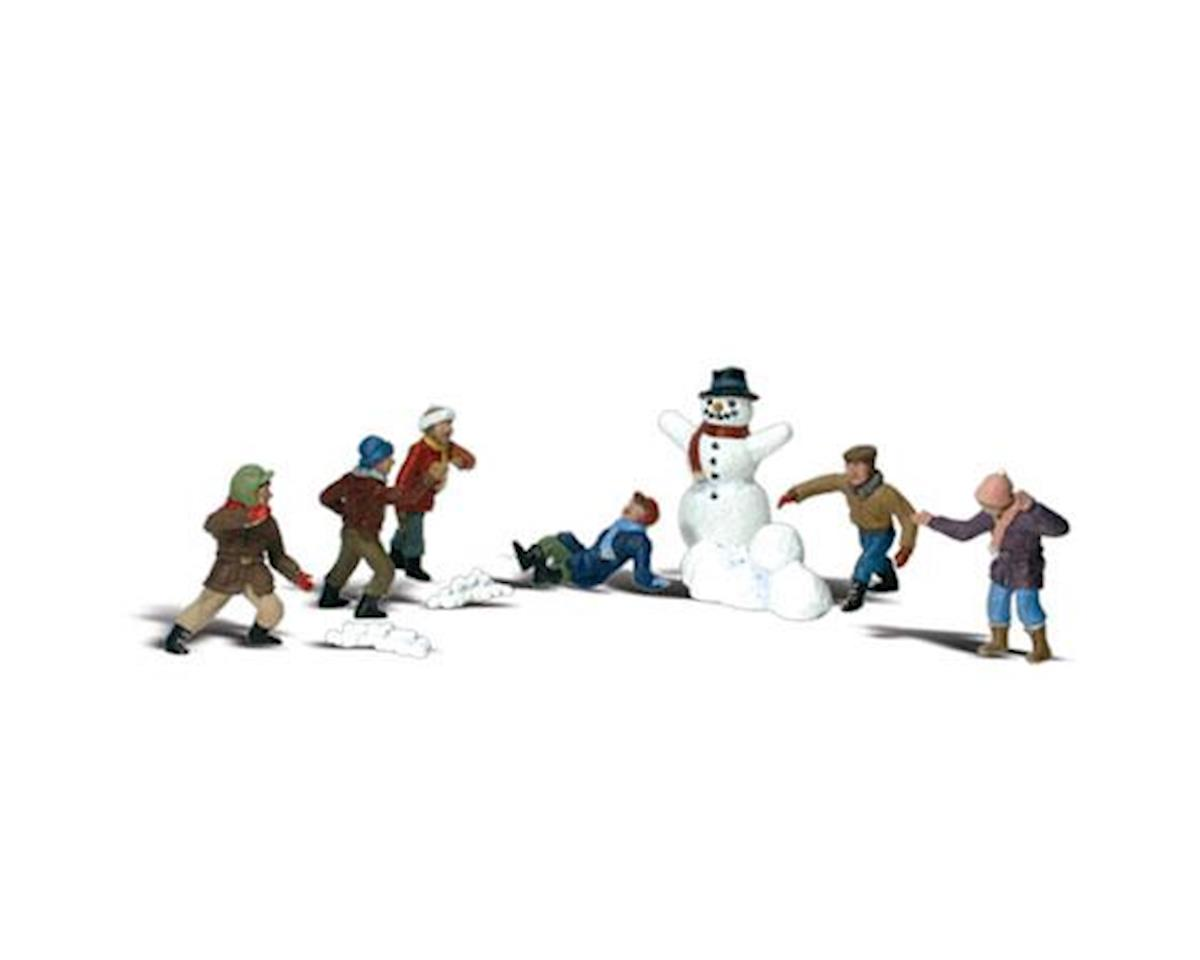 Woodland Scenics N Scenic Accents Snowball Fight (6 Figures & Snowm
