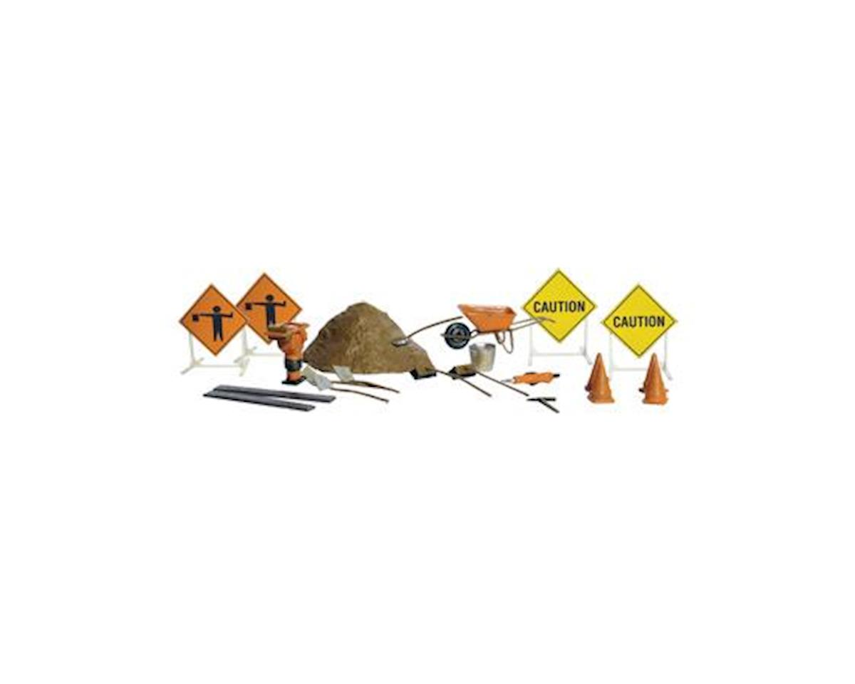 Woodland Scenics N Scenic Accents Road Crew Accessory Details (Sign
