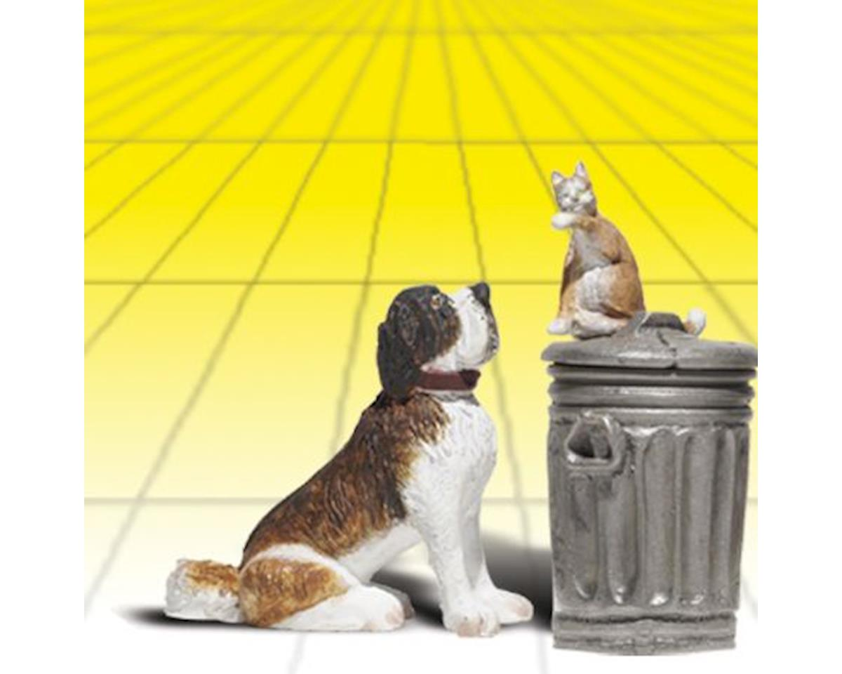 Woodland Scenics G Dog w/Cat on Trashcan