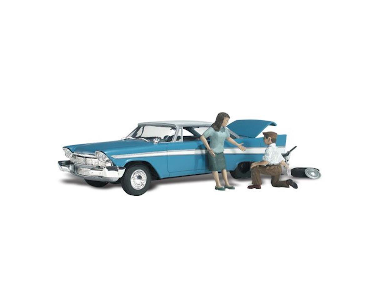 Woodland Scenics N Autoscene Felix Fix-a-Flat 1950's Plymouth w/Fig