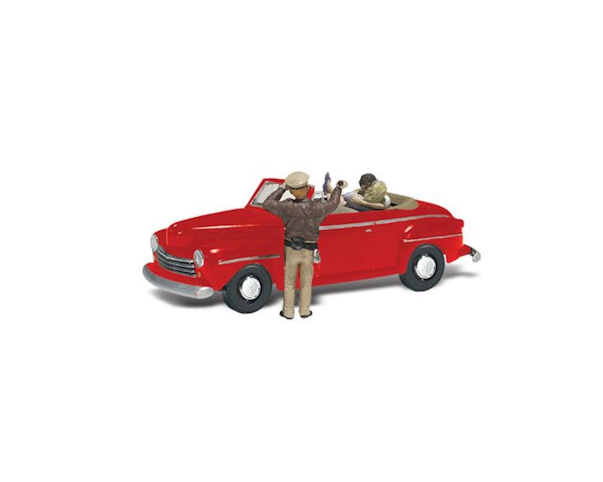 Woodland Scenics N Autoscene Cop'n a Kiss 1948 Ford Car w/Figures