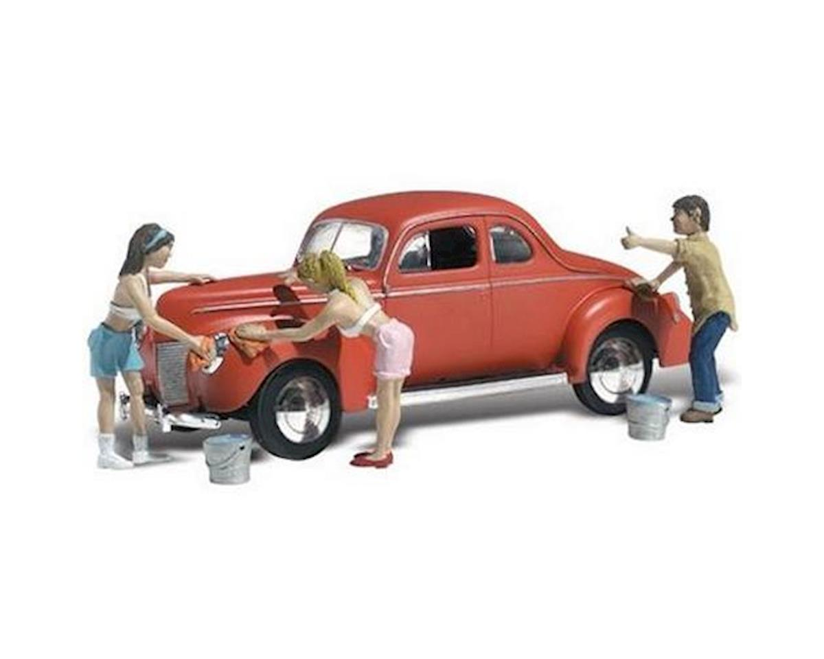 N Autoscene Suds & Shine 1940's Ford Coupe w/Figur by Woodland Scenics