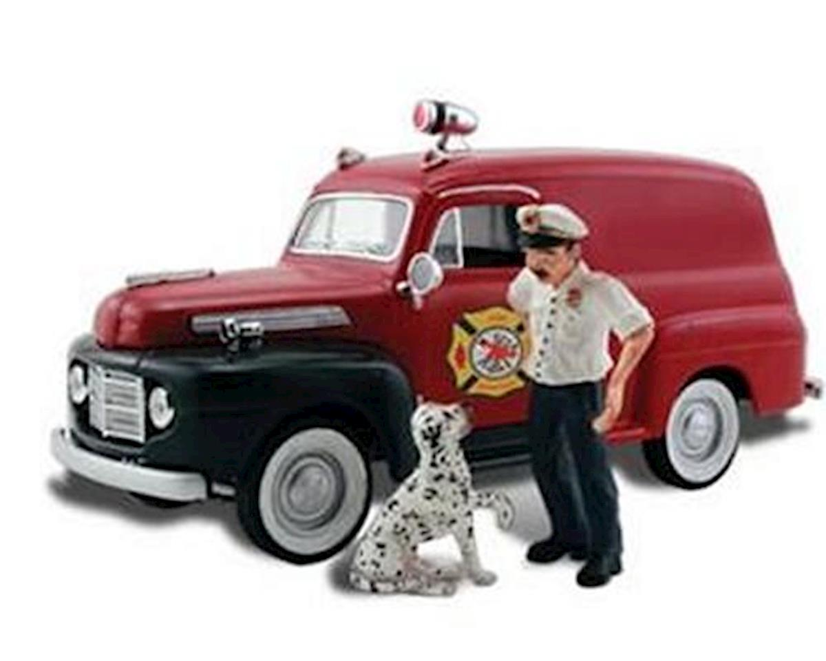 Woodland Scenics HO Autoscene Fire Chief Panel Truck w/Figures
