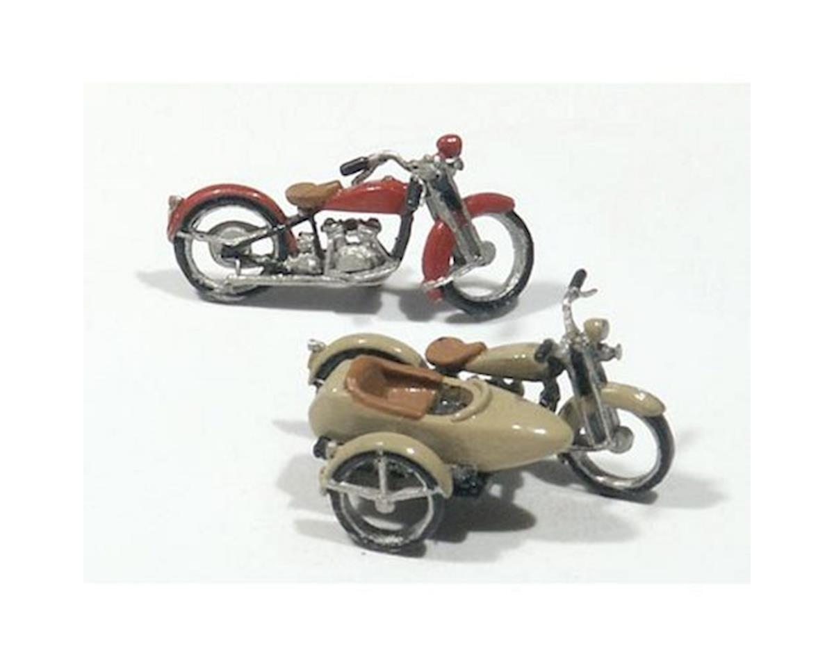 Woodland Scenics HO Motorcycles & Sidecar