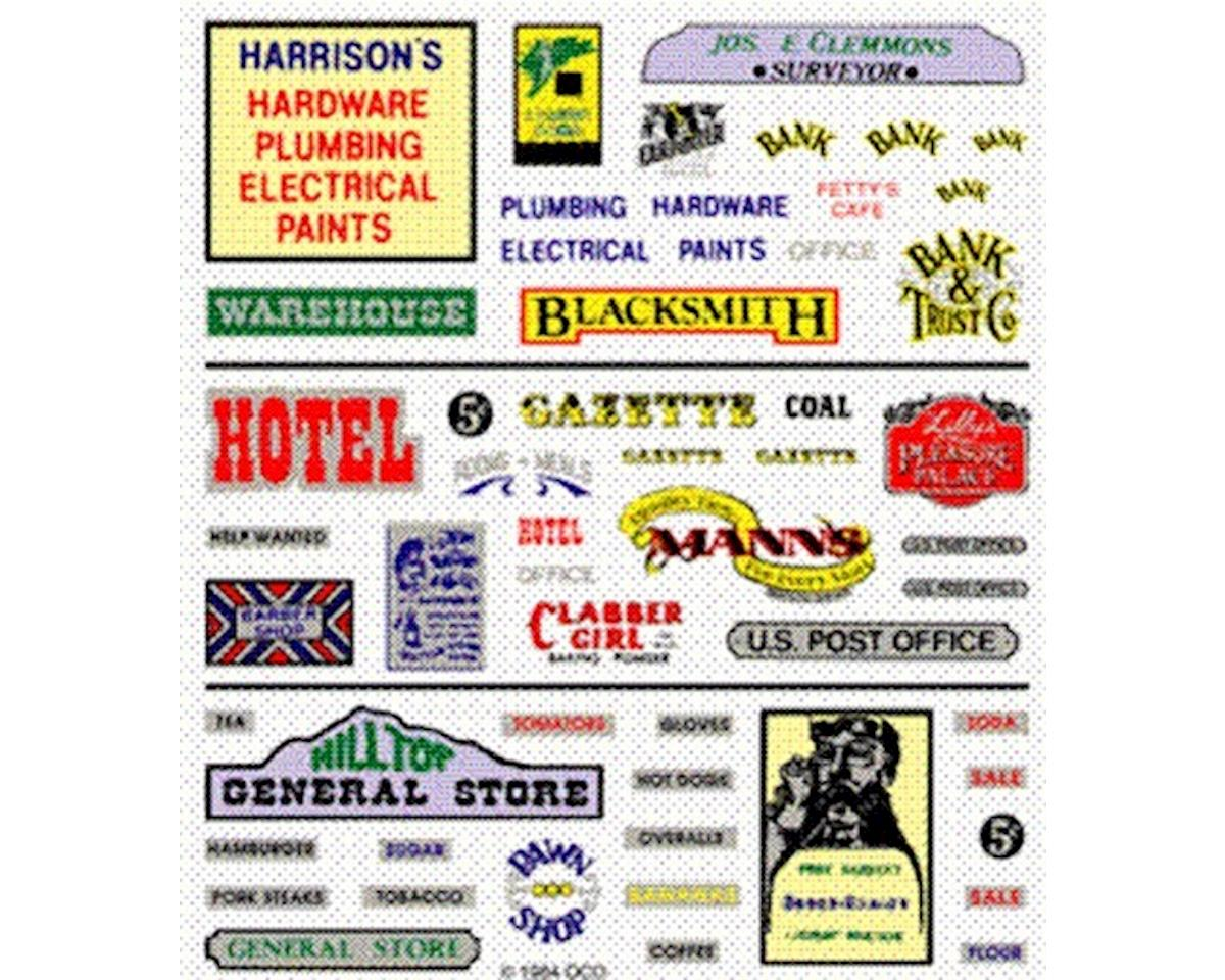 Woodland Scenics Dry Transfer, Assorted Business Signs