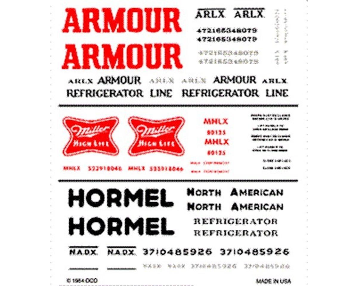Woodland Scenics HO Reefer Dry Transfer, Armour/Miller/Hormel